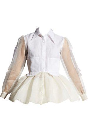 Women Trench Coats - Women's White Silk Organza Trench Shirt Large QUOD
