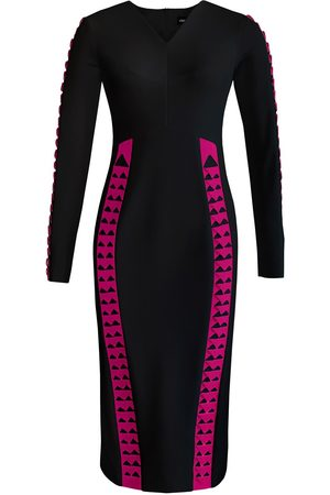 Women's Artisanal Black Full Sleeve Chevron Detail Pencil Dress In Large L'MOMO