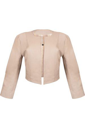 Women Leather Jackets - Women's Artisanal Natural Leather Cordobesa Jacket - Nude Small Kmana