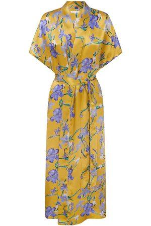 Women Bathrobes - Women's Purple Silk Iris Sun Large Genevie