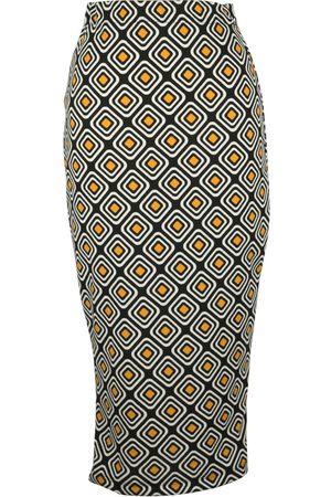Women Pencil Skirts - Women's Artisanal Fabric Geogram Pencil Skirt XS Jennafer Grace