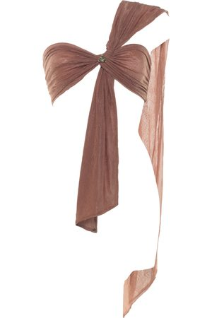 Women Strapless Tops - Women's Artisanal Rose Quartz Bandeau Top Lace Adjustable Wren Wrap Demery Jayne- Demery Jayne International