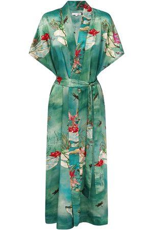 Women's Green Silk Jade Lily Kimono Large Genevie