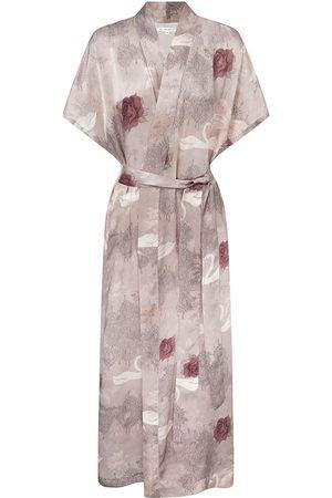 Women Kimonos - Women's Red Silk Swan Lace Kimono Medium Genevie