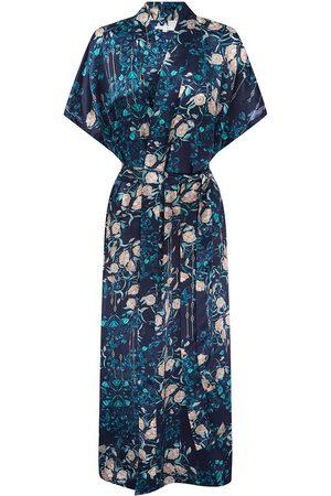 Women Bathrobes - Women's Blue Silk Delphina Kimono Robe Medium Genevie