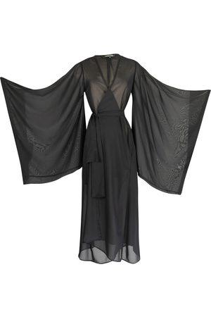 Women Kimonos - Women's Artisanal Black Sheer Kimono Medium Jennafer Grace