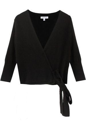 Women's Black Cashmere Helena Wrap Large Theo + George