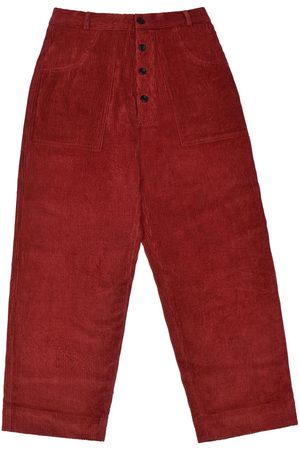 Men's Artisanal Red Cotton Logjam Trousers - Dark Corduroy 36in LaneFortyfive