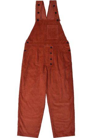 Men Dungarees - Men's Artisanal Orange Cotton Dit Dungarees - Rust Corduroy 36in LaneFortyfive