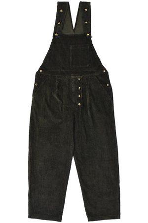 Men's Artisanal Green Cotton Dit Dungarees - Dark Corduroy 36in LaneFortyfive