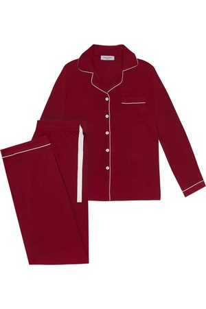 Women's Natural Fibres Burgundy Fabric Isla Pyjama In Large Made Wright London