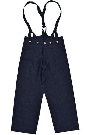 Men's Artisanal Black Linen Pantaloni4 Trousers With Braces 36in LaneFortyfive