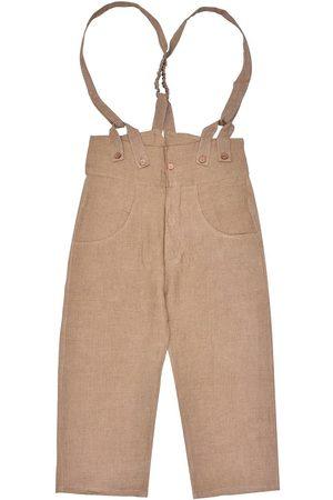 Men's Artisanal Brown Linen Pantaloni4 Trousers With Braces 32in LaneFortyfive