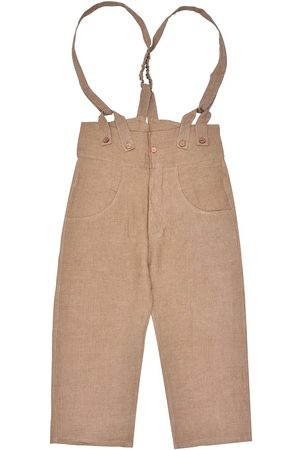 Men's Artisanal Brown Linen Pantaloni4 Trousers With Braces 36in LaneFortyfive
