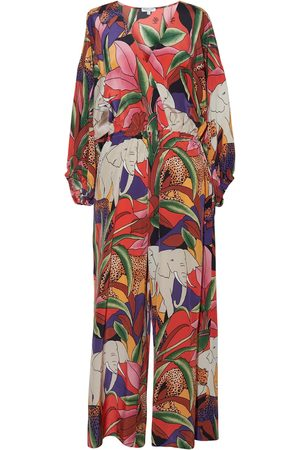 Women's Silk Africa Jumpsuit - Safari Print Small Nieves Lavi
