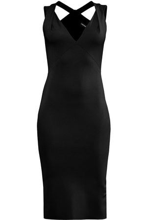 Women's Artisanal Black Below The Knee Pencil Dress With Crossed Shoulder Straps In Large L'MOMO