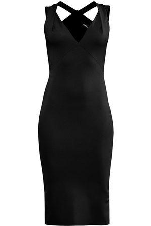 Women's Artisanal Black Below The Knee Pencil Dress With Crossed Shoulder Straps In XS L'MOMO