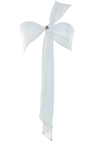 Women Strapless Tops - Women's Artisanal White Bandeau Top Lace Adjustable Wren Wrap Demery Jayne - Sea Salt Demery Jayne International