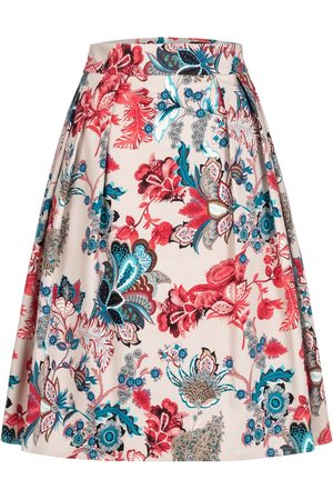Women Printed Skirts - Women's Non-Toxic Dyes Cotton A-Line Skirt With Victorian Print Large Marianna Déri