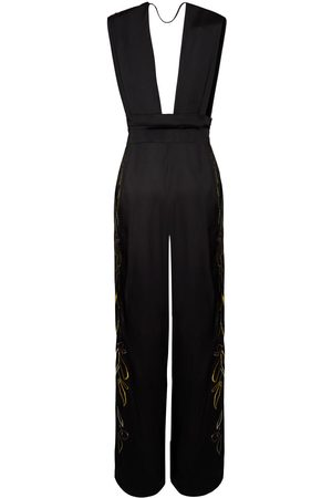 Women's Artisanal Black Mirto Jumpsuit With Embroidery Large VienSo