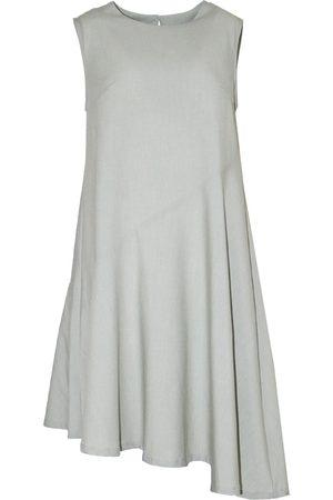 Women's Natural Fibres Green Leather Carson Asymmetric Sleeveless Dress XS SALIENT LABEL
