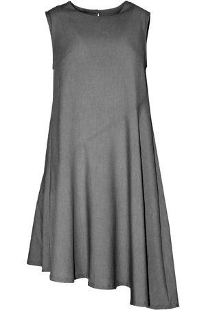 Women's Natural Fibres Grey Leather Carson Asymmetric Sleeveless Dress Large SALIENT LABEL