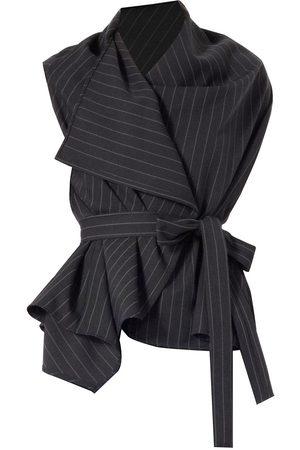 Women Wrap tops - Women's Low-Impact Black Lincoln Asymmetric Pinstripe Wrap Top Small Meem Label