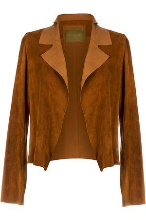Women Leather Jackets - Women's Artisanal Brown Leather Suede Classic Short Jacket - Honey Large ZUT London