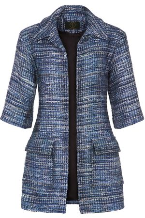 Women Leather Jackets - Women's Artisanal Blue Leather Bakst Jacket Small GeeGee Collection