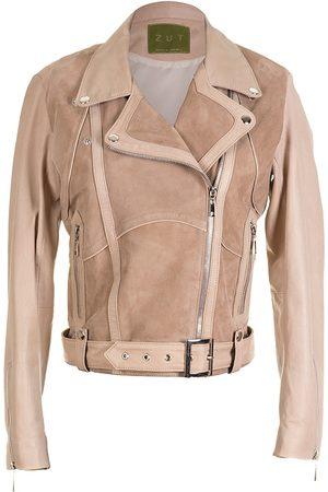 """Women Leather Jackets - Women's Artisanal Natural Leather """"Classic Combined Suede & Biker Jacket With Belt & Buckle - Beige"""" XXS ZUT London"""