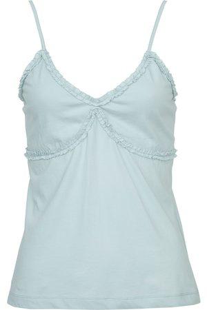 Women Sweats - Women's Low-Impact Blue Cotton Ida Cami Medium Wallace Cotton