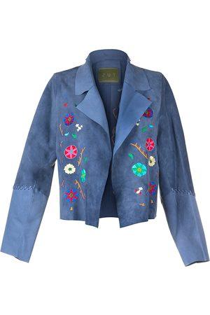 "Women Leather Jackets - Women's Artisanal Blue Leather ""Suede Short Embroidered Jacket-Sky Large ZUT London"