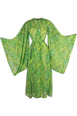 Women Kimonos - Women's Artisanal Green Paradise Kimono Medium Jennafer Grace