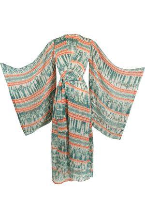 Women's Artisanal Green Coral Reef Kimono Large Jennafer Grace