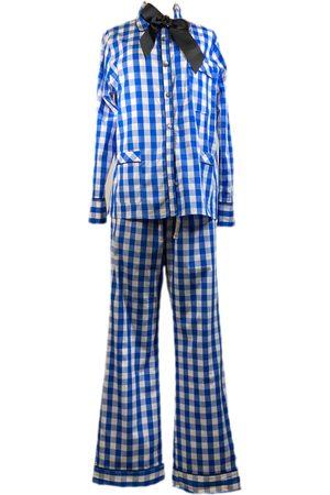 Women Pajamas - Women's Artisanal Blue Cotton Check Pyjamas Small lotte.99