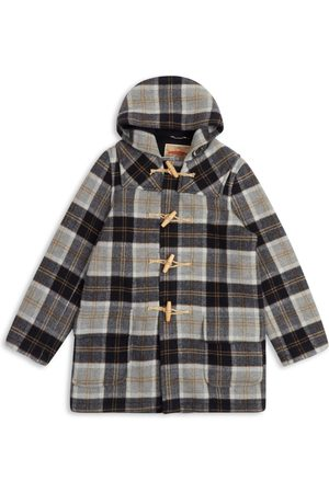Men's Artisanal Grey Wool Water Repellent Duffle Coat - Tartan Small Burrows & Hare
