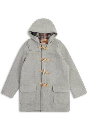Men Duffle Coat - Men's Artisanal Grey Wool Water Repellent Duffle Coat - Light Small Burrows & Hare