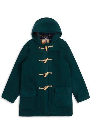 Men's Artisanal Green Wool Water Repellent Duffle Coat - Racing XS Burrows & Hare