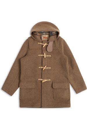 Men's Artisanal Natural Wool Water Repellent Duffle Coat - Mushroom XL Burrows & Hare