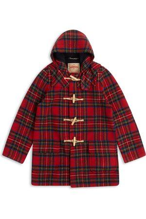 Men's Artisanal Red Wool Water Repellent Duffle Coat - Tartan Small Burrows & Hare