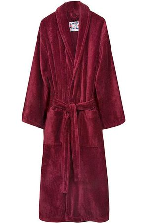 Burgundy Cotton Men's Dressing Gown - Baron Large Bown Of London