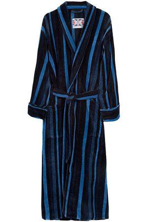 Blue Cotton Men's Dressing Gown - Salcombe Medium Bown Of London