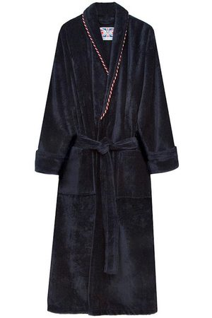 Navy Cotton Men's Dressing Gown - Earl Large Bown Of London
