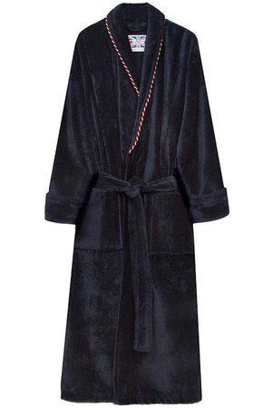Navy Cotton Men's Dressing Gown - Earl Medium Bown Of London