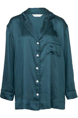 Women Pajamas - Women's Low-Impact Blue Cotton Mother Of Pearl Pyjama Shirt Large Wallace Cotton