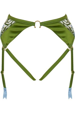 Women Underwear Accessories - Women's Green Silk Cerelia Harness Suspender Medium Studio Pia
