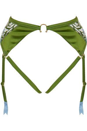 Women's Green Silk Cerelia Harness Suspender Small Studio Pia
