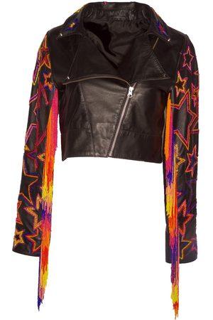 Women Leather Jackets - Women's Artisanal Black Leather Fringetastic Moto XL Any Old Iron