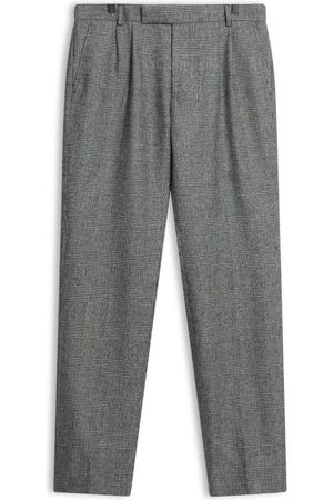 Men Skinny Pants - Men's Artisanal Grey Wool Fox Brothers Flannel Prince Of Wales Check Trousers 32in Burrows & Hare
