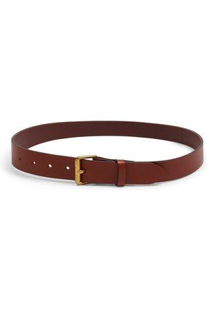 Men Belts - Men's Artisanal Brown Brass Bridle Leather Belt - Tan 32in Burrows & Hare